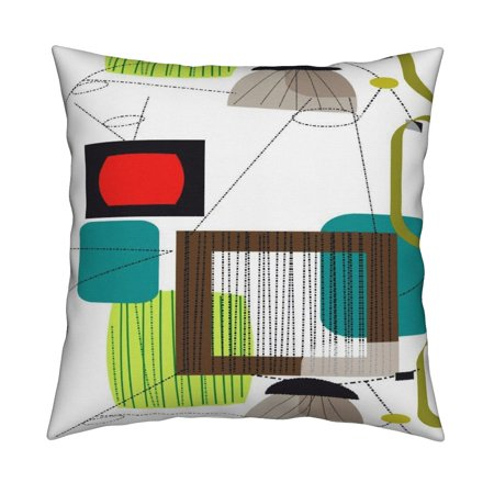 Retro Mod Eames Era Eames Era Throw Pillow Cover w Optional Insert by Roostery