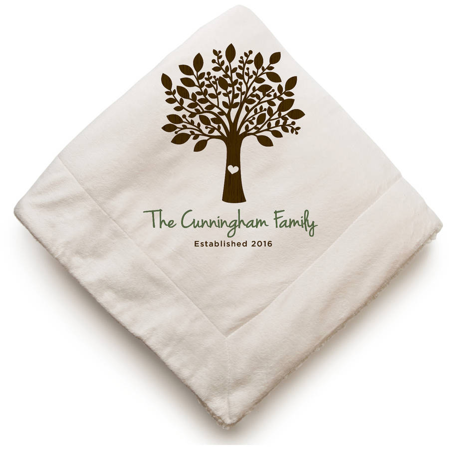 Family Tree Personalized Sherpa Blanket, 2 Styles to Choose From