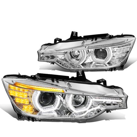 Series Headlight Light - For 2012 to 2016 BMW F30 3 -Series 3D LED Halo+LED DRL Light Bar Projector Headlight Chrome Housing Amber Corner Headlamp 13 14 15