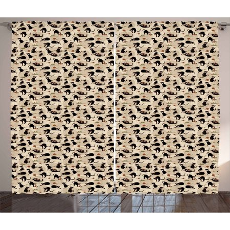 cat curtains 2 panels set hand drawn feline pattern house pet playing with mouse and - Cat Curtains