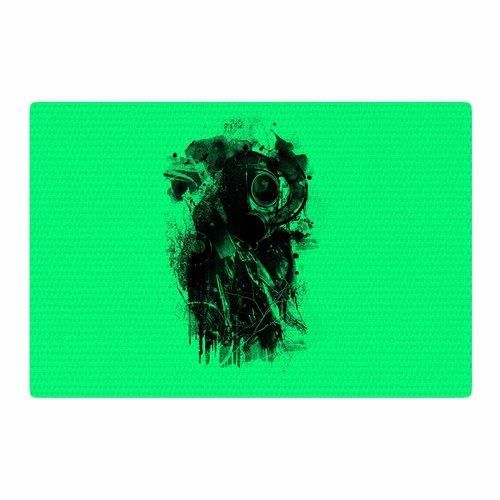 East Urban Home BarmalisiRTB Gasmask Abstract Green/Black Area Rug