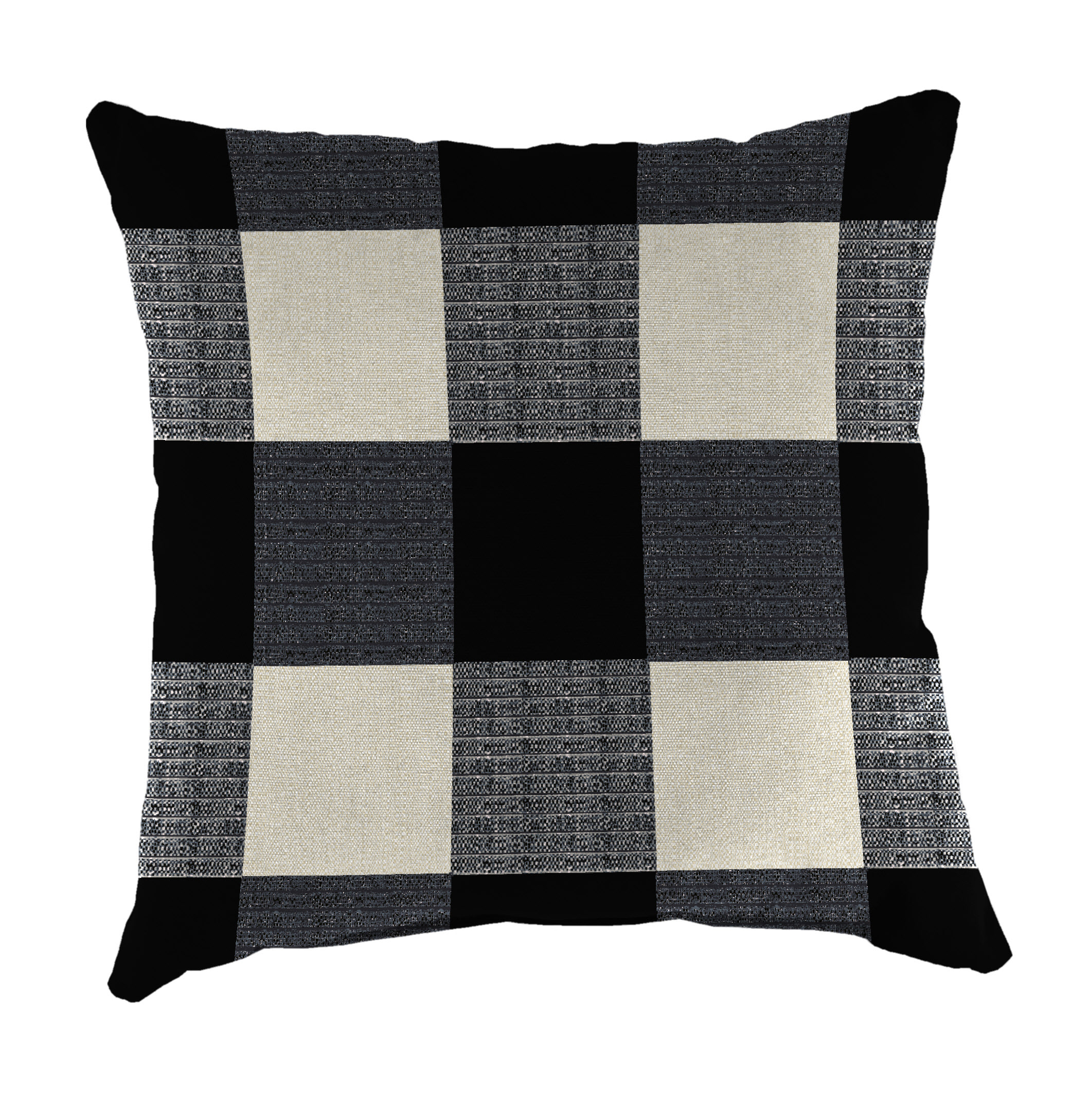 Mainstays White & Black Plaid Pillow