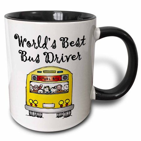 3dRose Worlds Best Bus Driver. - Two Tone Black Mug, -