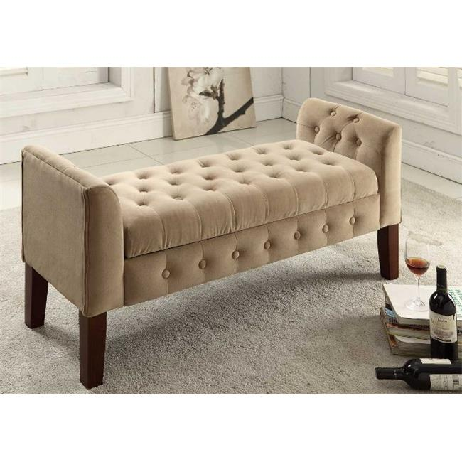 Comfortly K6211-B117 Velvet Tufted Settee Storage Bench