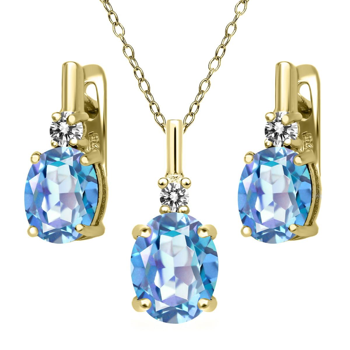 6.97 Ct Millennium Blue Mystic Quartz White Diamond 18K Yellow Gold Plated Silver Pendant Earrings Set by