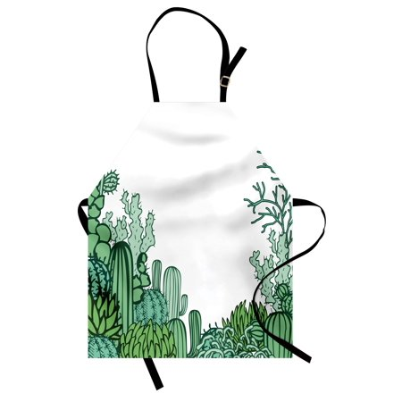 Cactus Apron Arizona Desert Themed Doodle Cactus Staghorn Buckhorn Ocotillo Plants, Unisex Kitchen Bib Apron with Adjustable Neck for Cooking Baking Gardening, Green Pale Green Seafoam, by Ambesonne - Desert Theme