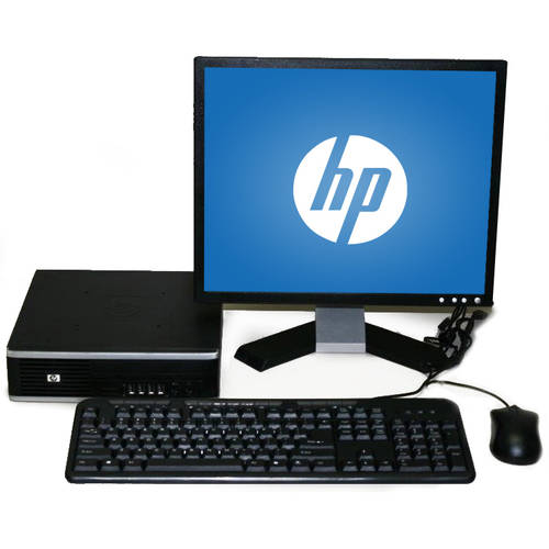 "Refurbished HP 8000 USFF Desktop PC with Intel Core 2 Duo Processor, 4GB Memory, 17"" Monitor, 80GB Solid State Drive and Windows 10 Home"