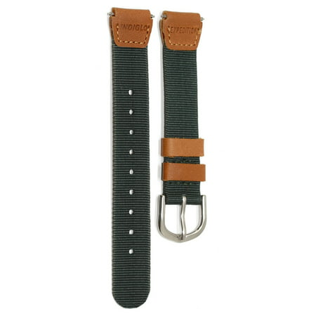 TIMEX 18MM GREEN BROWN NYLON FABRIC LEATHER EXPEDITION FIELD WATCH BAND STRAP Brown Expedition Watch Band