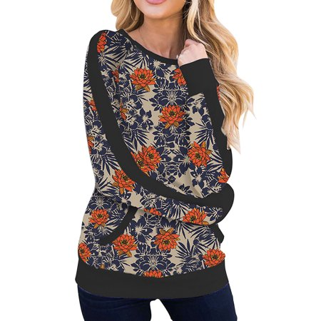 Women Retro Style Floral Print Loose Jumper Pullover Blouse Shirts Tunic Tops Winter Long Sleeve Camouflage Sweatshirt Fashion Sexy Baggy Casual Leopard Blouse Shirt Womens City Style Leopard