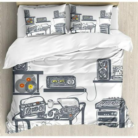 Dwell Studio Sham - Ambesonne Recording Studio with Music Devices Turntable Records Speakers Digital Illustration Duvet Set