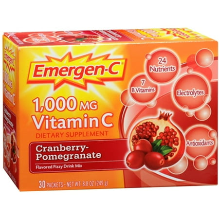 4 Pack - Emergen-C Vitamin C Drink Mix Packets Cranberry Pomegranate 30 Each