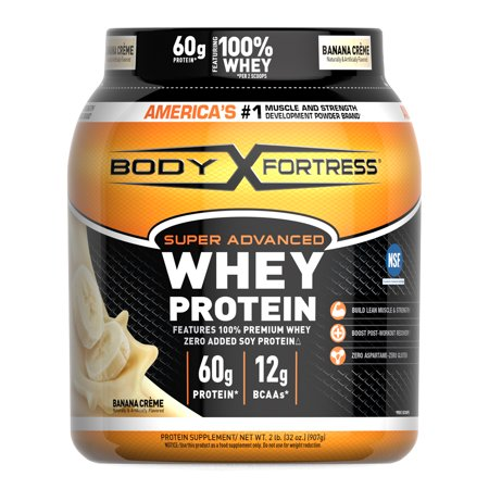 Body Fortress Super Advnaced Whey Protein Powder, Banana Cream, 2lb, 32oz Peak Body Whey Protein