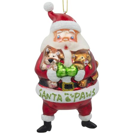 BestPysanky Santa with Puppy and Kitten Blown Glass Christmas Ornament 5.5 Inches ()