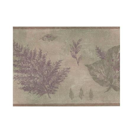 Norwall Olive Green Purple Tree Leaves Wallpaper Border](Leaf Boarder)