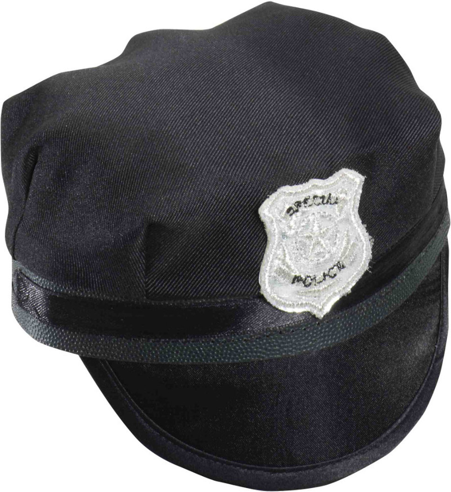 "4"" Women's  Black Mini Police Cop SWAT Officer Costume Hat"