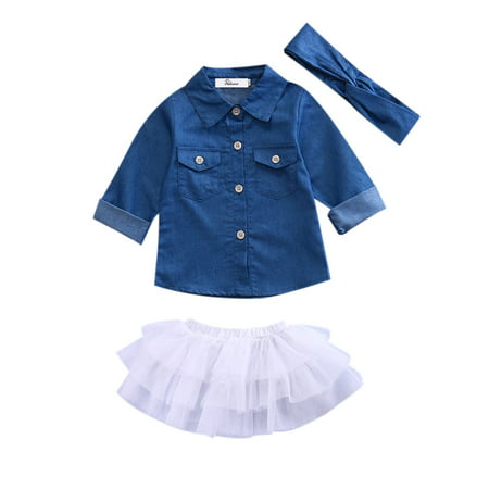 Toddler Kids Baby Girl Denim Tops Shirt +Tutu Skirt Clothes Set with Headband Outfits