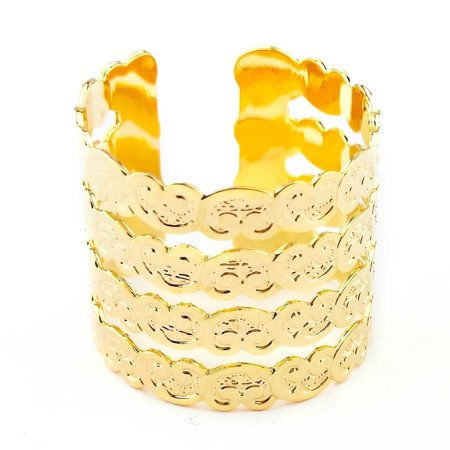 18K Gold Plated Craquelure Mourisca Nice Ring, Designer Rings, Simple Costume Rings (Simple Costume)