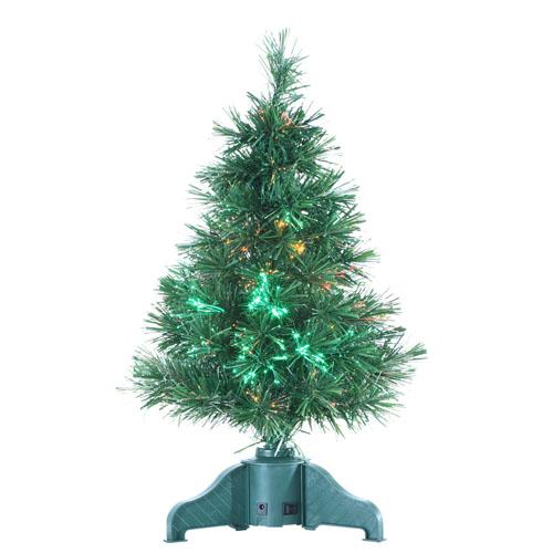 2' LED Lighted Color Changing Fiber Optic Artificial Christmas Tree