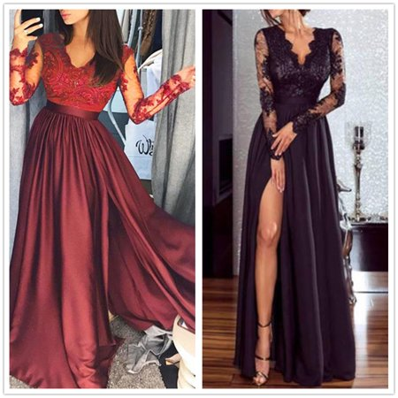 Women Lady Long Maxi Dress Long Sleeve V Neck High Waisted Side Slit Party Prom Ball Wedding Beach Boho Dresses Summer Clothes (Wedding Dress Boho)