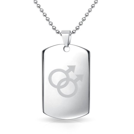 Gay Pride Dog Tag Pendant Necklace For Men Interlocking Double Male Symbol 20 Inch Bead Chain Stainless Steel - Lesbian Pride Necklace
