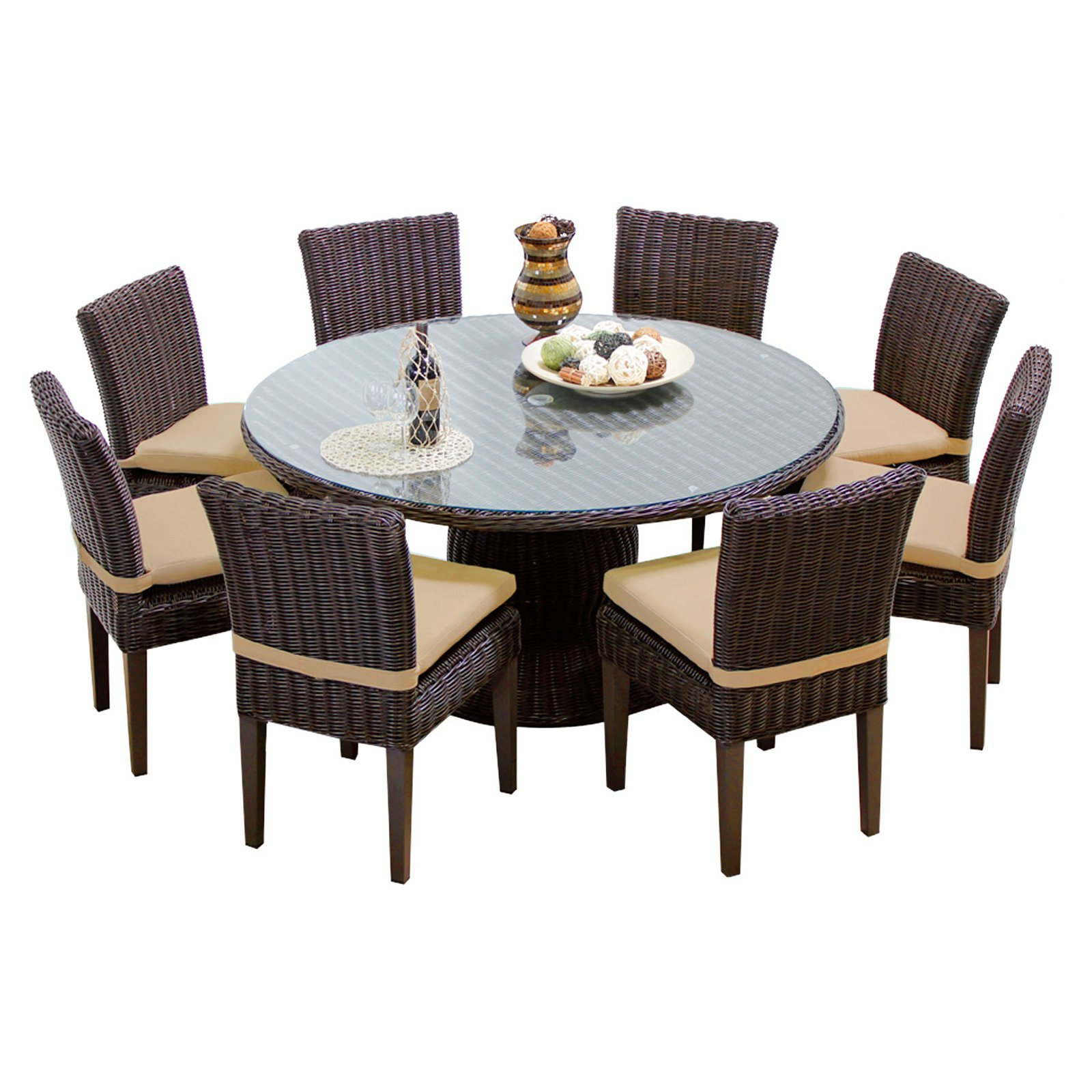 TK Classics Venice Wicker 9 Piece Patio Dining Room Set with 16 Cushion Covers by TK Classics