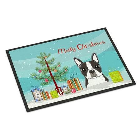 Christmas Tree and Boston Terrier Door Mat (Boston Terrier Door Mat)
