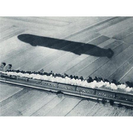 Posterazzi DPI1872329LARGE Shadow of the Fast Zeppelin Air Ship Schwaben Keeping Pace with An Express Poster Print, 32 x 24 - image 1 de 1