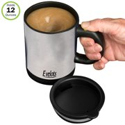 Evelots Self Stirring Coffee Mug-Tea-Juice-Travel-12 ounces-Stainless Steel