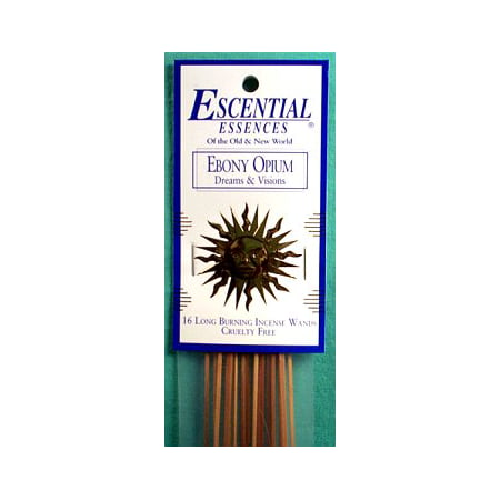 Essential Essences Incense Ebony Opium 16pk Sticks Used For Dreams Visions Attraction and Pain Relief Create Relaxing Atmosphere Into Your Home Prayer Meditation Aromatherapy