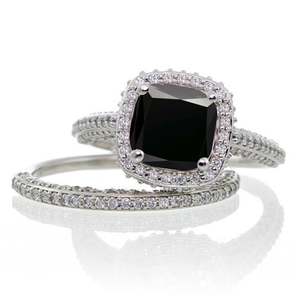 Jeenjewels 2 5 Carat Cushion Cut Designer Black Diamond And Halo Wedding Ring Set On 10k White Gold