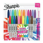 Sharpie Color Burst Permanent Markers, Fine Point, Assorted Colors, 24 Count