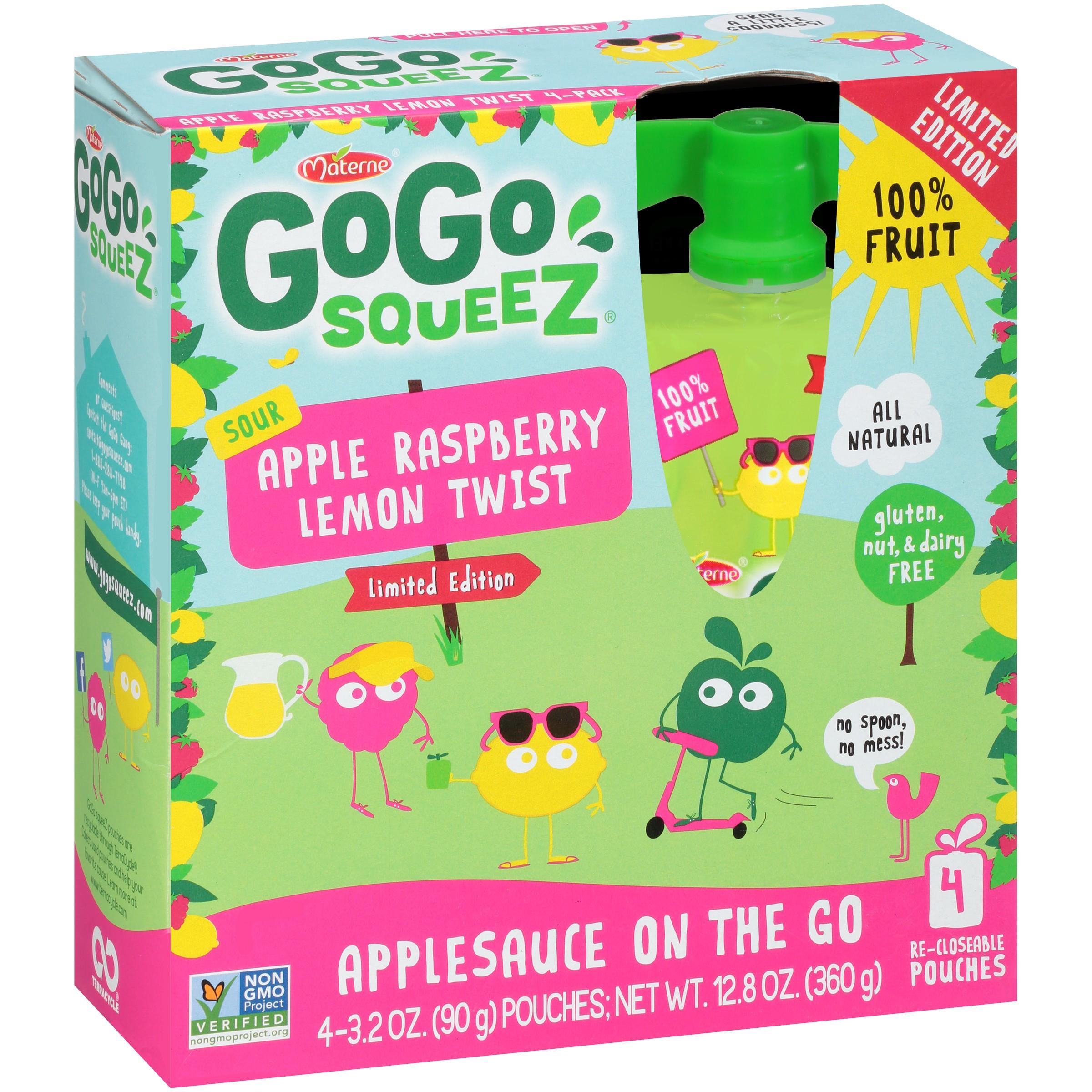 GoGo squeeZ Sour Apple Raspberry Lemon Twist Applesauce on the Go 4-3.2 oz. Pouches