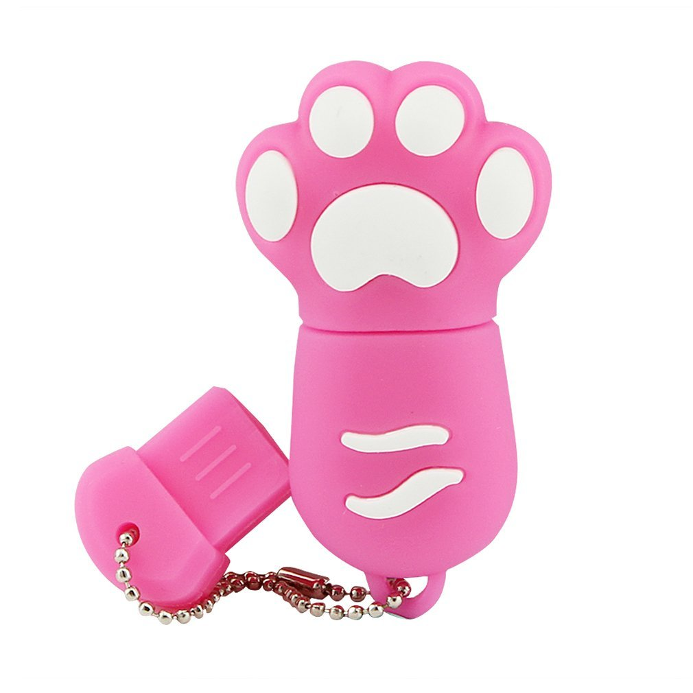 Funny Cat's Paw USB 2.0 Flash Drive 16GB Footprint Mini USB Disk Pink