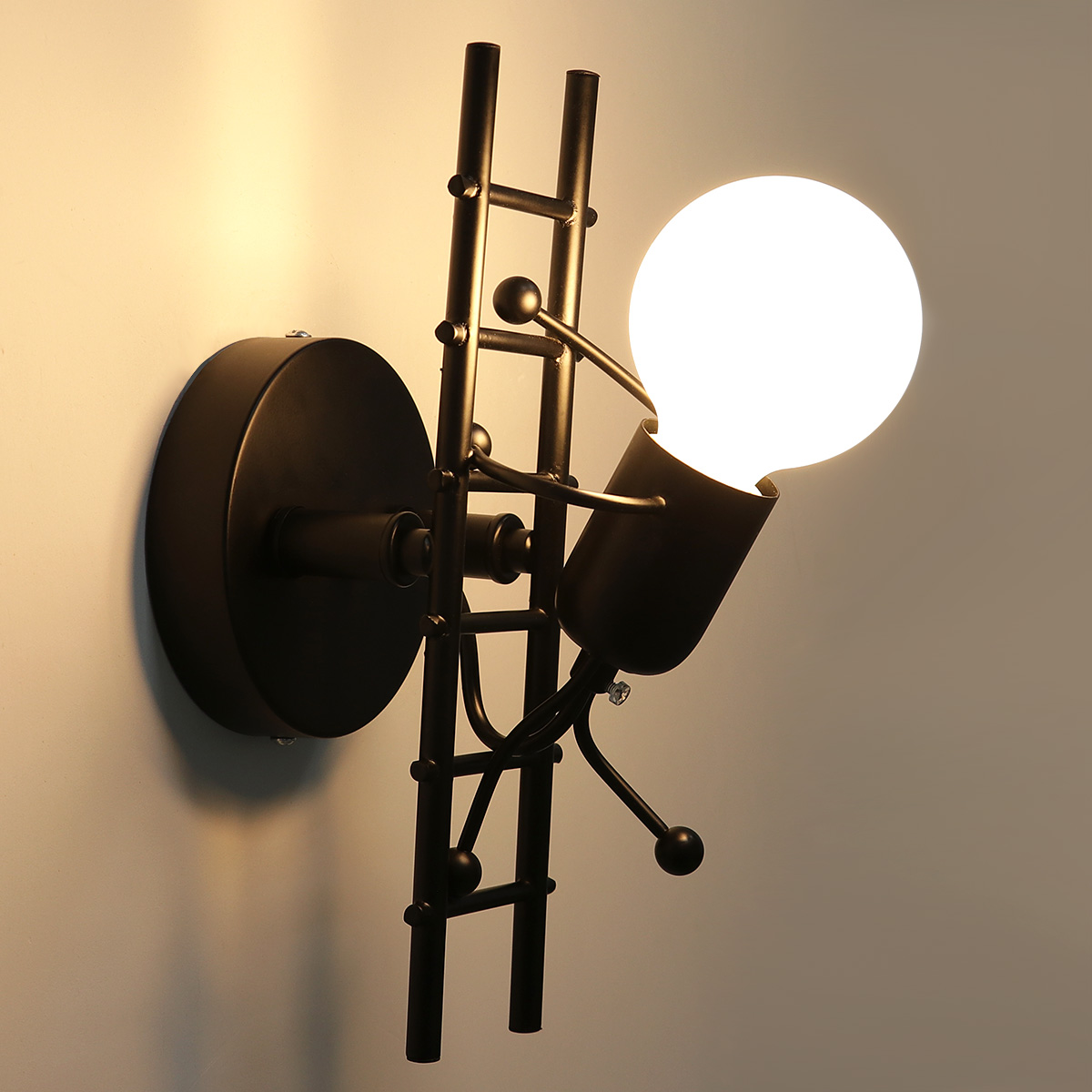 Children Room Kitchen HAWEE Humanoid Creative Wall Light Indoor Wall Lamp Modern Wall Sconce Light Art Deco Iron E27 Base for Bedroom White Stair Hallway Restaurant