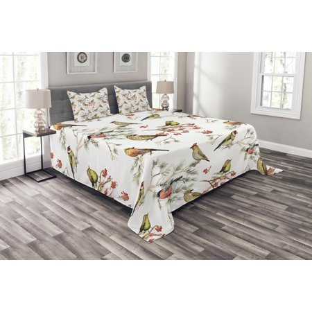 Animal Bedspread Set, Sparrows Chubby Birds Ethnic Leaves Branches Pine Trees Watercolor Image Artwork, Decorative Quilted Coverlet Set with Pillow Shams Included, Multicolor, by Ambesonne