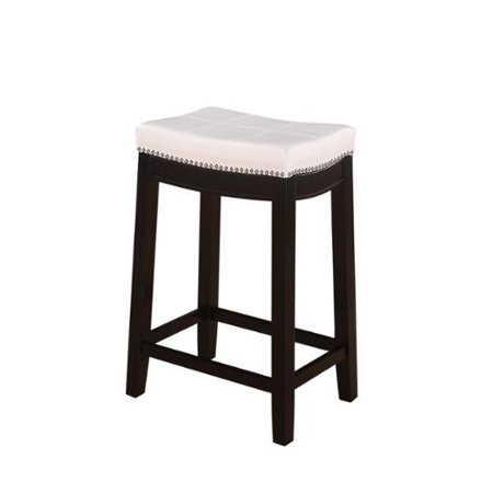 linon manhattanesque backless counter stool white vinyl seat. Black Bedroom Furniture Sets. Home Design Ideas