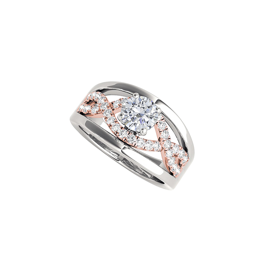 Criss Cross Design April Birthstone CZ Two Tone Ring - image 2 of 2