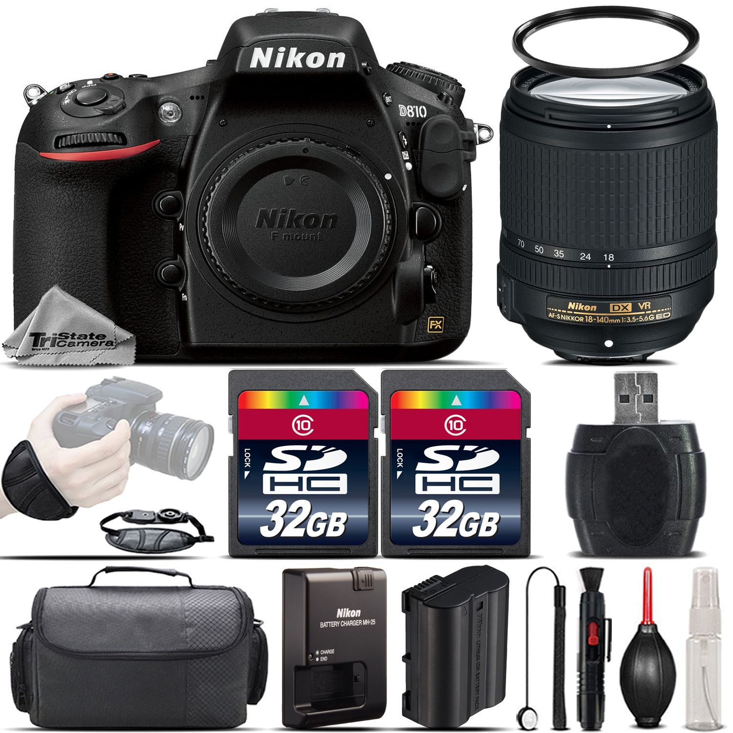 Nikon D810 DSLR 36.3MP FX Camera + Nikon 18-140mm VR Lens + Wrist Grip- 64GB Kit by Nikon