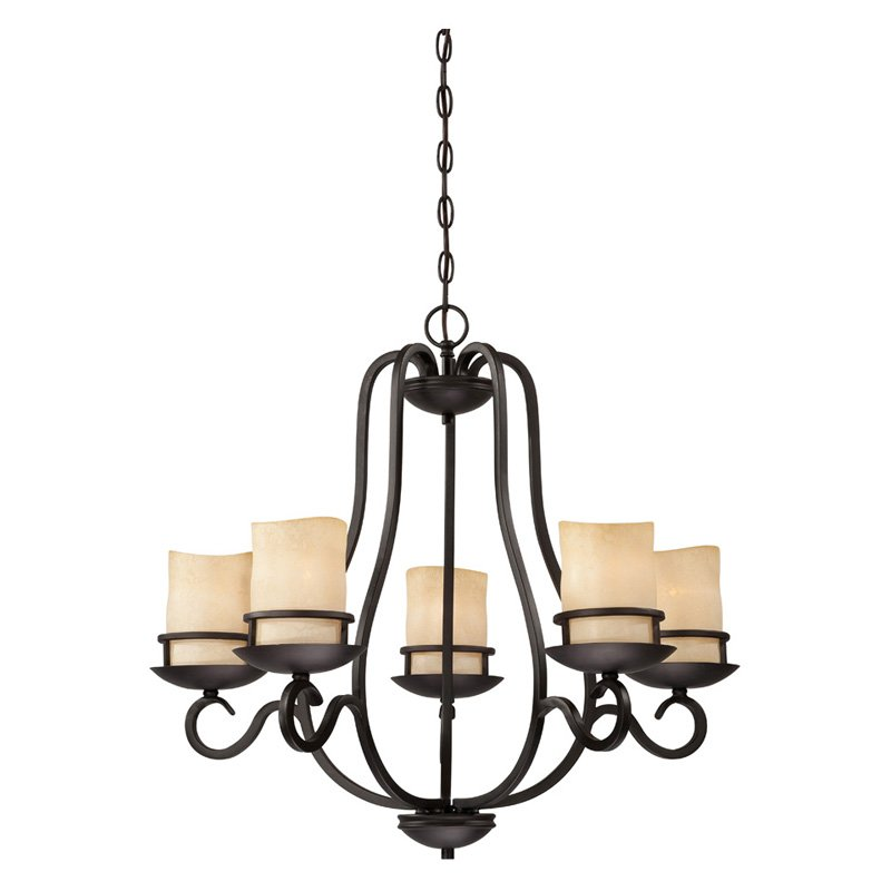 Designers Fountain 84785 Lauderhill 5 Light Chandelier in Natural Iron Finish