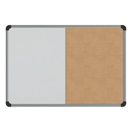 Universal Cork/Dry Erase Board, Melamine, 24 x 18, Black/Gray Aluminum/Plastic Frame -UNV43742