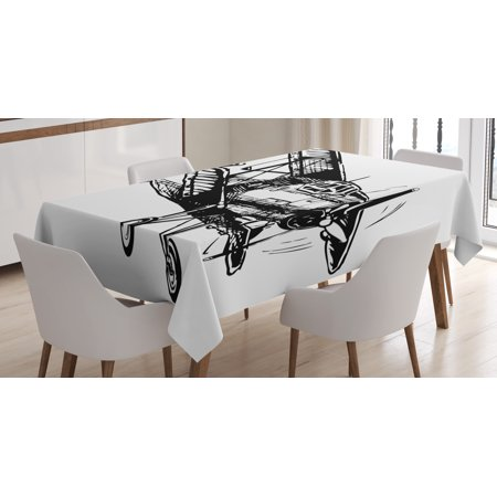 Vintage Airplane Decor Tablecloth Drawing Of Monoplane Sketchy Stylized Ancient Monochrome Design Rectangular Table Cover For Dining Room Kitchen