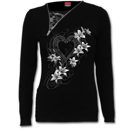 Spiral Direct PURE OF HEART Viscose 2in1 Slant Zip Neck Lace TopFashion |Heart |Roses