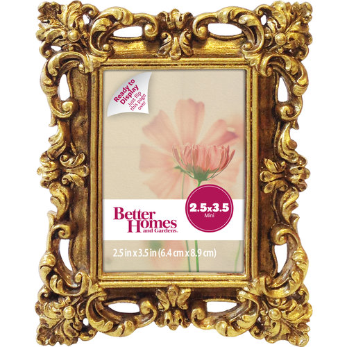 Better Homes and Gardens Baroque Mini Picture Frame, Antique Gold Finish