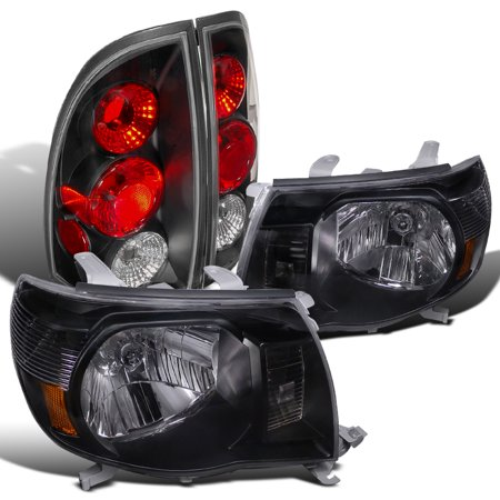 Lights Jdm Black Housing - Spec-D Tuning For 2005-2008 Toyota Tacoma Crystal Jdm Black Headlight + Altezza Style Tail Lamp (Left + Right) 2005 2006 2007 2008