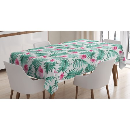 Watercolor Tablecloth, Tropical Ferns with Flowers Exotic Hawaii Floral Arrangement Blossoming Nature, Rectangular Table Cover for Dining Room Kitchen, 52 X 70 Inches, Seafoam Pink, by Ambesonne](Tropical Tablecloth)