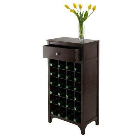 Winsome Wood Ancona Modular 24-Bottle Wine Cabinet, Espresso Finish