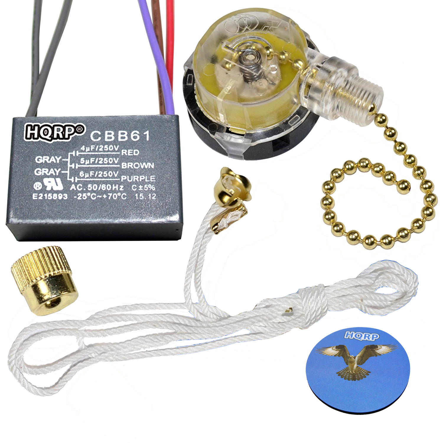 Hqrp Kit Ceiling Fan Capacitor Cbb61 4uf 5uf 6uf 5