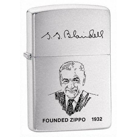 Zippo Pewter Emblem Black Crackle - Brushed Chrome, Zippo Founder - ZI200FL