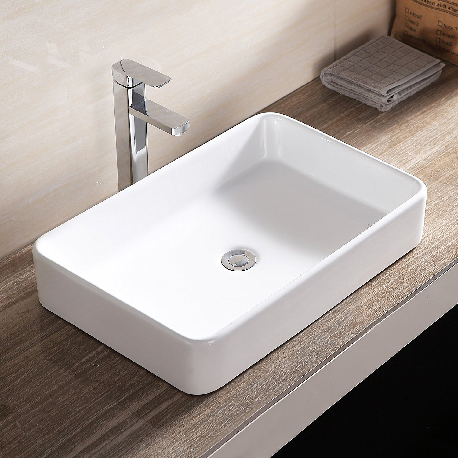 Topbath Bathroom Rectangle Sink Bowl Vessel Basin w/Pop Up Drain White Porcel
