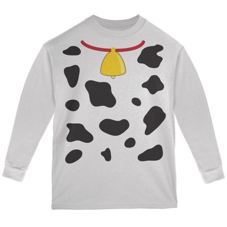 Halloween Cow Costume White Youth Long Sleeve T-Shirt